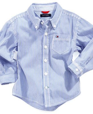 Tommy Hilfiger Baby Shirt, Baby Boys Long Sleeve Stripe Shirt