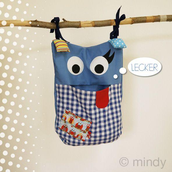 Pyjama Monster nähen, Schlafanzug Tasche