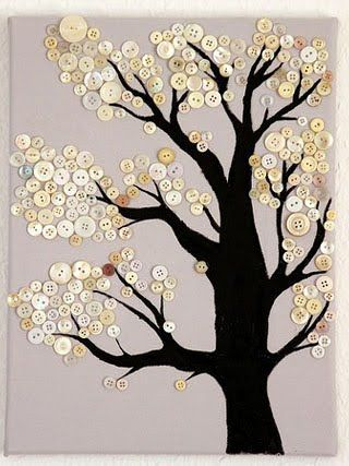 A Button sewing tree . . . this is an idea, there are no instructions. I guess you could get a tree graphic design, transfer to cloth & then sew buttons on or print tree graphic design on paper and then glue buttons on