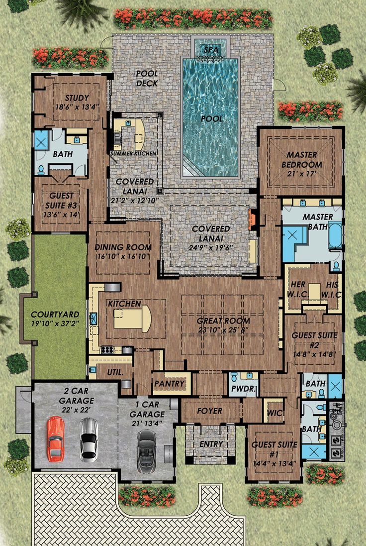 Home plans with pool home designs with pool from homeplans com - Florida Mediterranean House Plan 71532