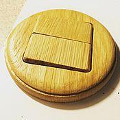 Выключатель из дерева (2х клавишный) (Дуб) Retro. Handmade.
