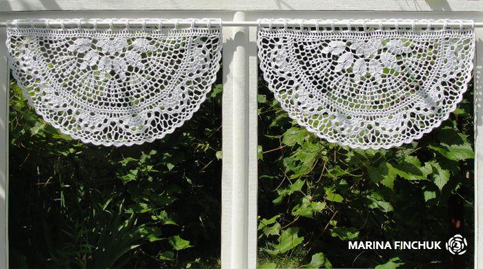 Шторки-zazdrostki «Eukalyptus», crochet-curtains
