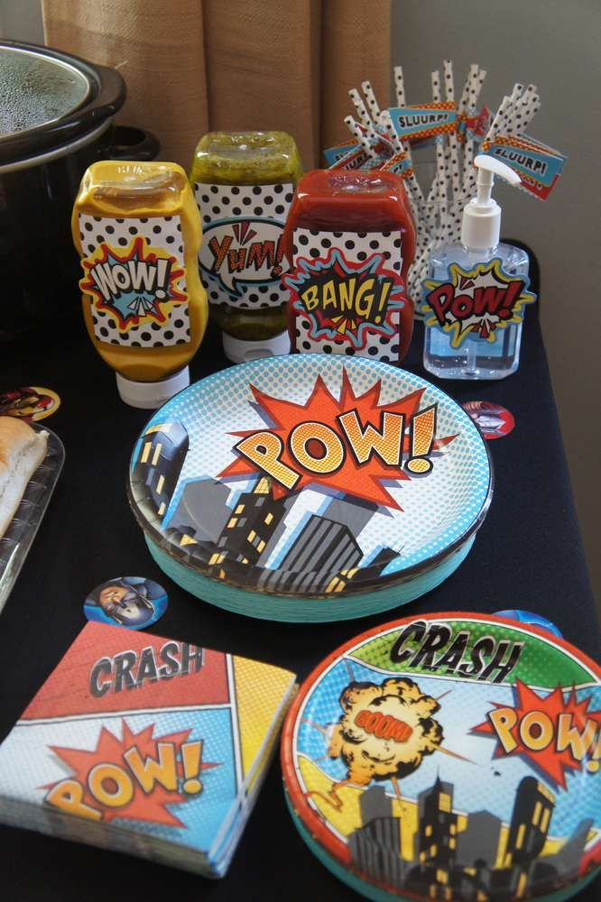 Like the labels on condiment containers  Karter's MARVEL-ous 4th | CatchMyParty.com