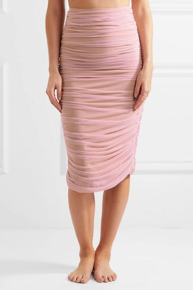 Pastel-pink and beige stretch-tulle Slips on Fabric1: 85% nylon, 15% spandex; fabric2: 82% nylon, 18% spandex; lining: 100% nylon Hand wash