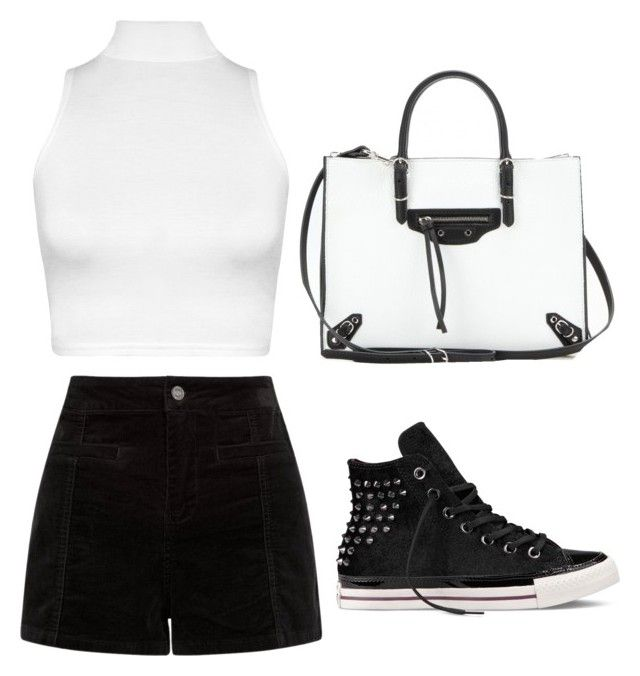 """freestyle : b&w 3"" by jasminehekekire on Polyvore featuring WearAll, Converse and Balenciaga"