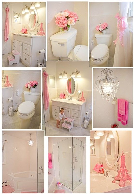 Pink and White Bathroom.I let my kids choose their own bathroom colours, my 8 year old girl chose all white for hers:) I think this pop of colour will work well for her .