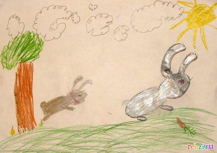 Детский рисунок: Зайцы в лесу (Катя, , 6 лет, Москва)
