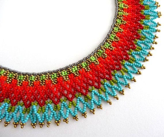 Peyote Beaded Mexican Orange Red and Turquoise color Necklace