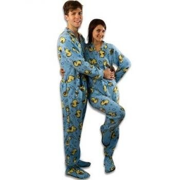 """PajamaCity offer the best PajamaCity Rubber Duck Print Polar Fleece Drop Seat Footed Pajamas for Teens and Adults Size 4 (5'4"""" to 5'5""""). #pajamas #footed"""
