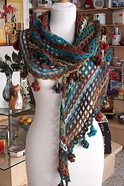 xale de croche: Hyperbol Flower, Shawl Patterns, Crochet Scarves, Crochet Patterns, Flower Crochet, Crochet Shawl, Crochet Knits, Sophia Shawl, Crochet Scarfs