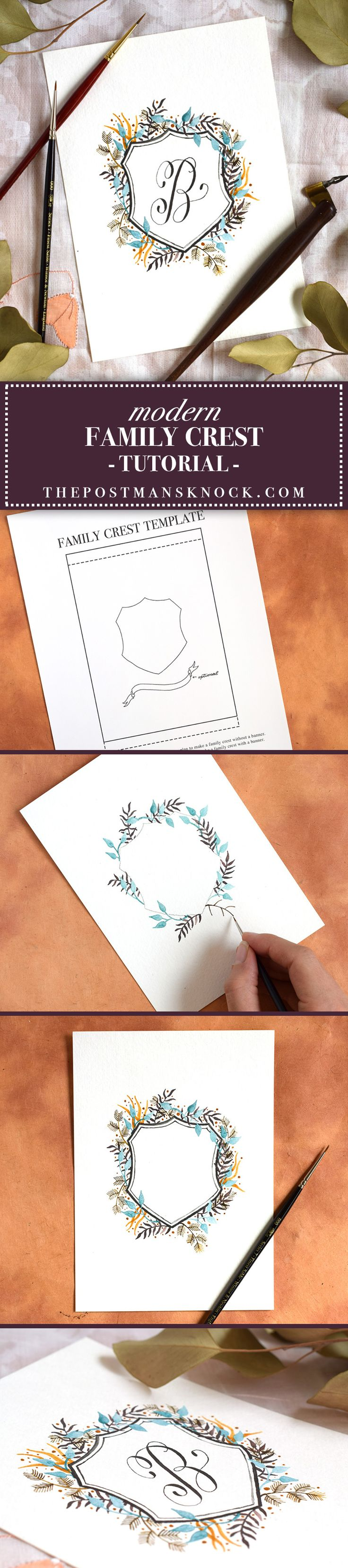 Make a family crest (coat of arms) -- free printable template included in post!