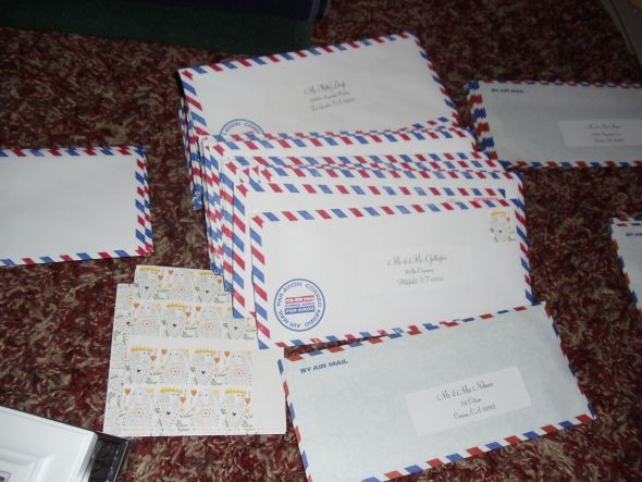 Activity/Guest book idea: Use vintage/Air Mail envelopes and have guests write letters to the bride & groom.