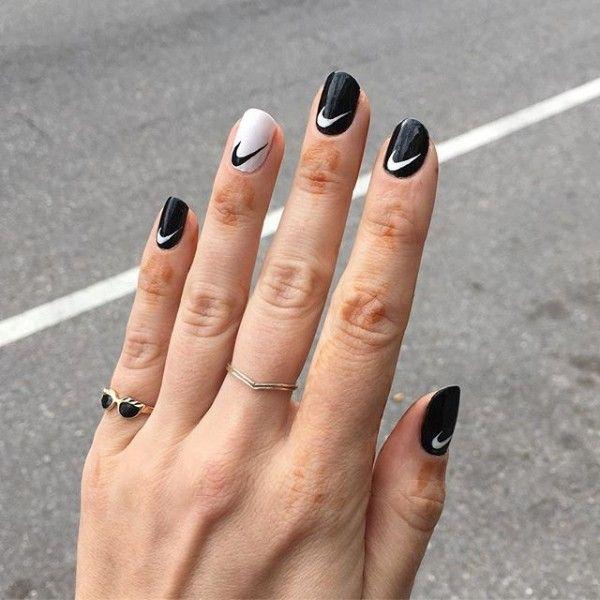 black,and,white,nike,nails