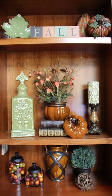 Bookcase In Family Room Decorated For Fall Traditional