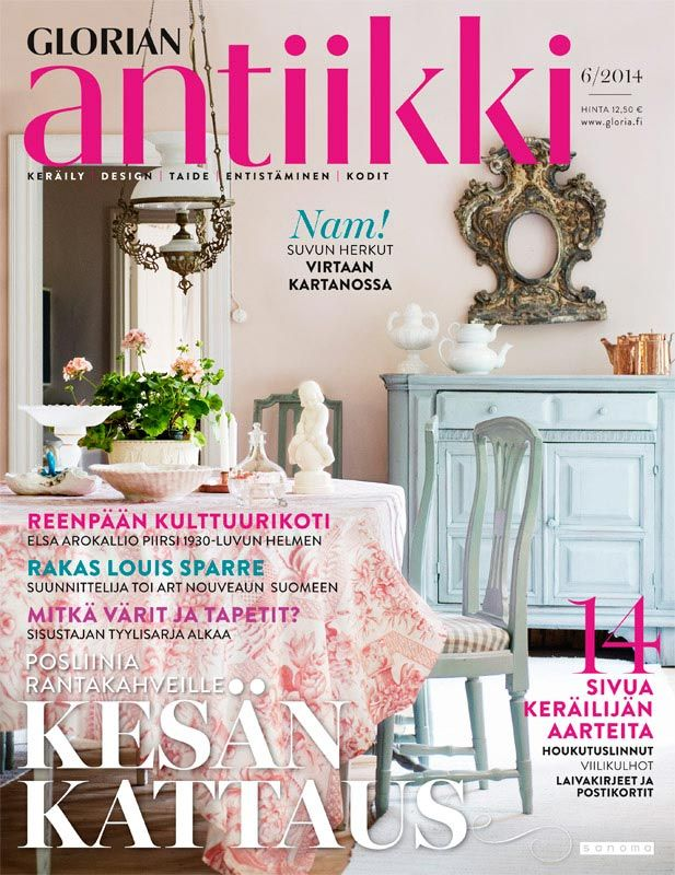 Magazine cover 6/2014. Pastel colours of the dining room from a house from rural Finland. Photo Sari Tammikari.