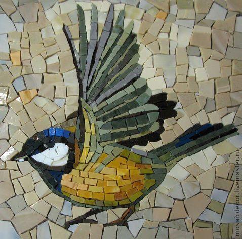 Купить птицы смальта - птицы, смальта, фрагменты к панно, мозаика, панно, снегирь, синица, Рябина