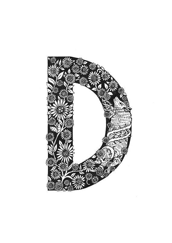 A4 D is for Daisies Typographical Illustrations by MenisArt