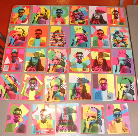 "Students created colorful collages underneath acetate prints of popular celebritities.  We discussed Warhol's use of bright colors that ""Pop Art"" was known for as well as his fascination with the rich and famous.  We asked students: ""If Warhol were alive today, what celebrities do you think he would make a portrait of?"""