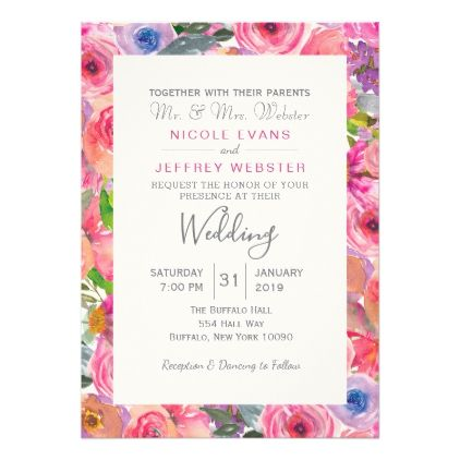 Spring Floral Flowers Country Wedding Invitation - spring wedding diy marriage customize personalize couple idea individuel