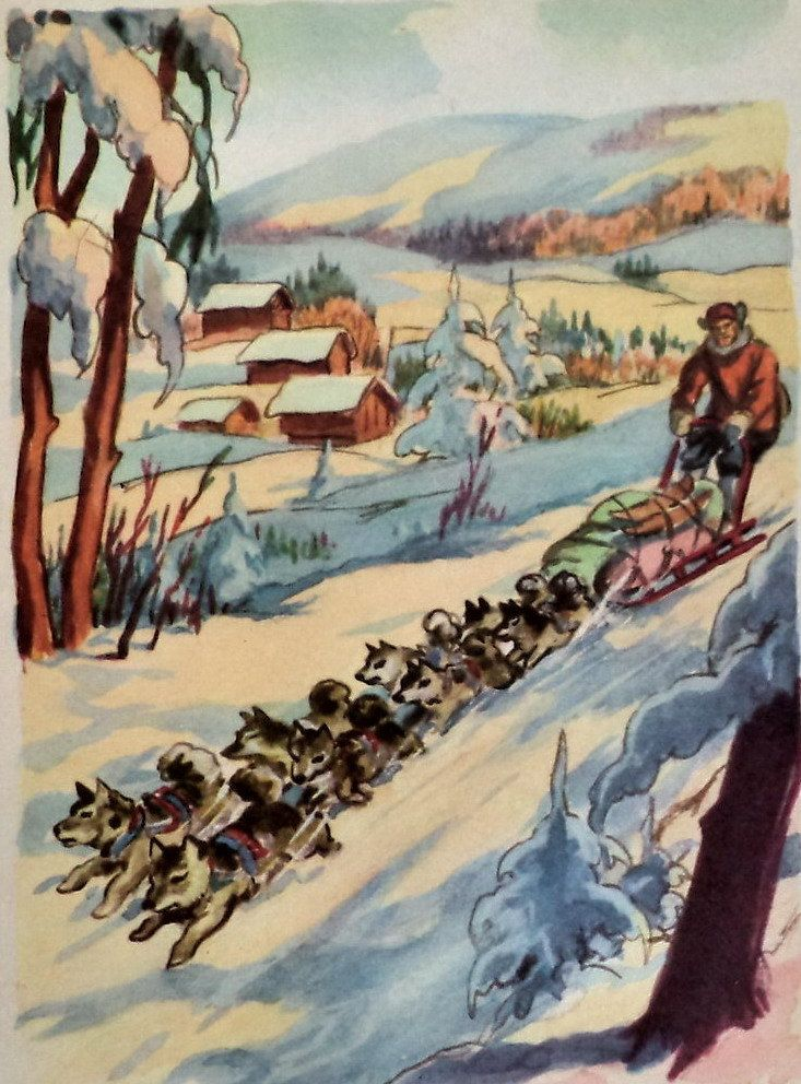 Vintage 50s P Rousseau Print Dog Sledding in Yukon Alaska, Original Print, Gold Rush Print, Arctic Exploration, Dog Print, Sled, Wall Decor by MushkaVintage3 on Etsy