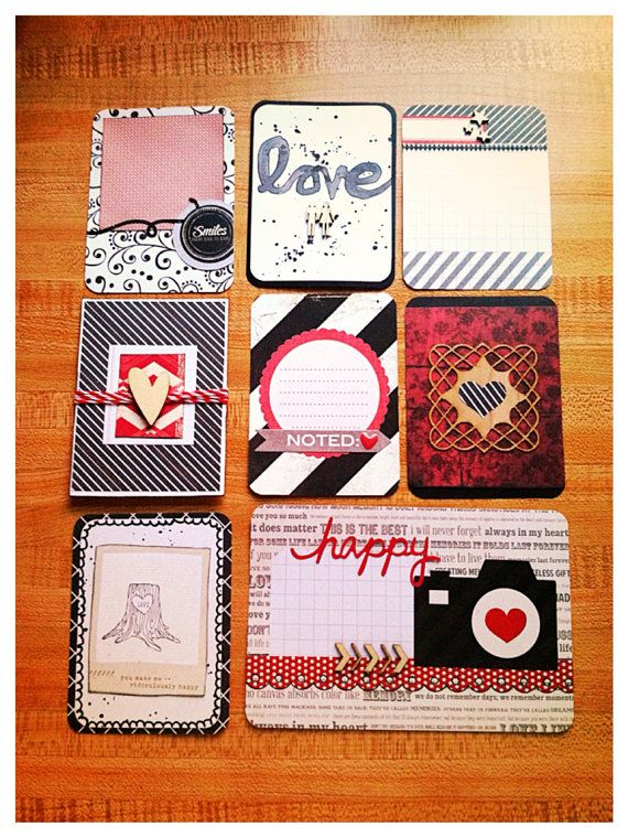"""Handmade journaling cards for Project Life """"Valentines"""""""