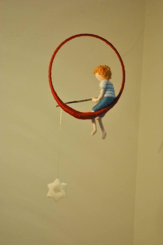 The fishing boy Waldorf inspired needle felted decoration: Boy