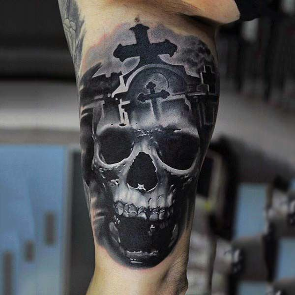 Realistic Detailed Skull Tombstone Tattoos For Men On Bicep
