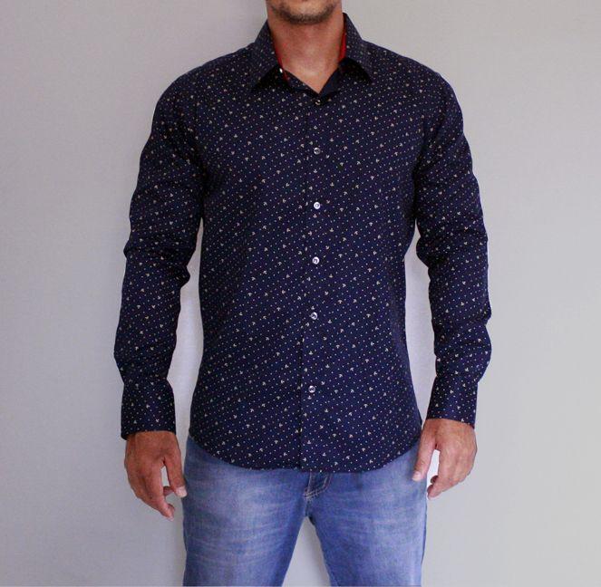 Camisa social Manga Longa Masculina azul âncora e bolinhas - look perfeito  para diversas ocasiões.  R  138 3d2274d87d6