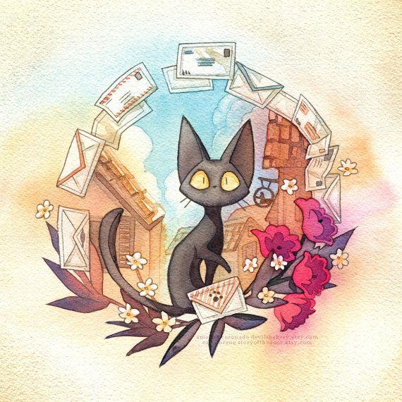 Jiji a une livraison pour vous tandis que Kiki est occupé à manger des crêpes ! < 3  --  Cette image est disponible ainsi quune affiche à la fois