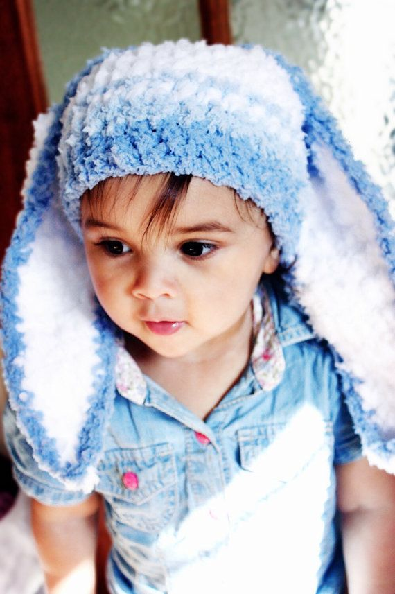 SUMMER SALE* Baby Stripe Bunny Beanie Baby Hat in Shades of Blue and White. Handmade with love by Babamoon - size 3 to 6m - Shop Now!  Use code BABACIJ20 to save 20% (Sale Ends July 11)
