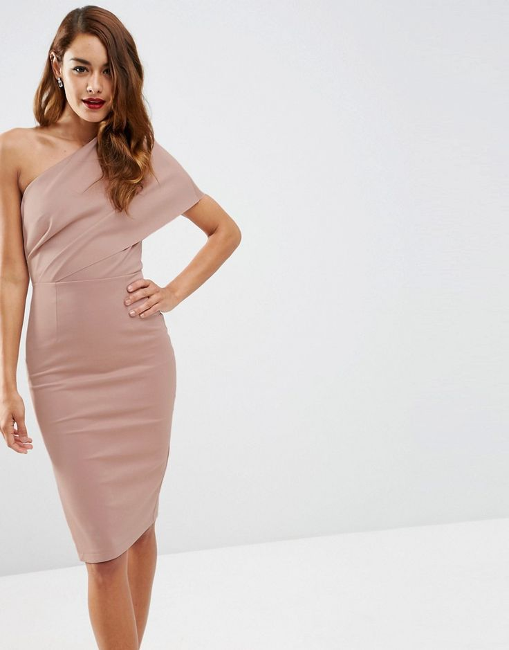 Image 1 ofASOS One Shoulder Scuba Deep Fold Midi Dress with Exposed Zip