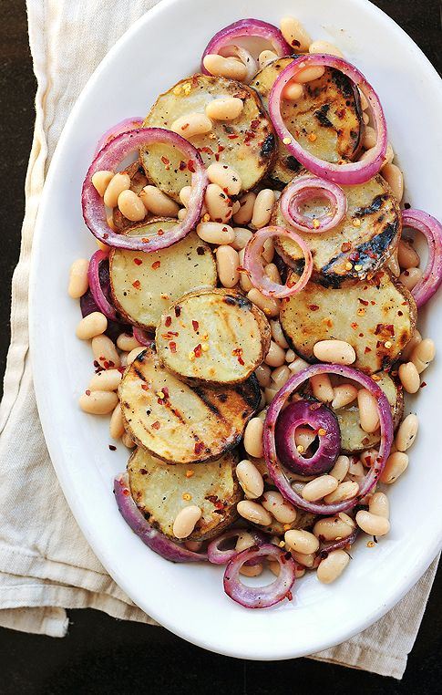 Grilled Potato & Cannellini Bean Salad via She Wears many Hats #recipe
