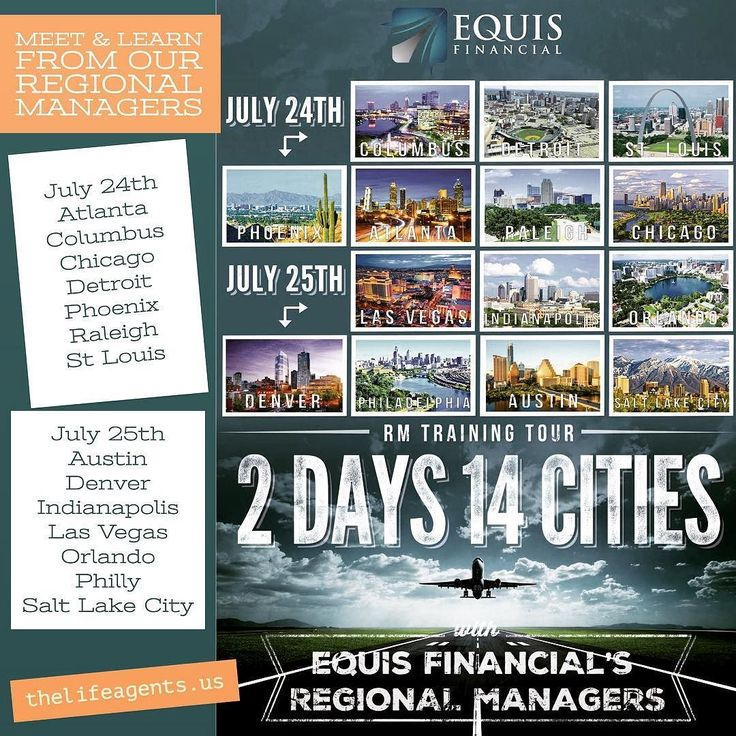 Equis Financial's Regional Managers tour coming to a city near you July 24/25. Come and check out 'The Agent's Company' www.thelifeagents.us #lifeinsurancecareers #theagentscompany #bestIMO #licensedagents #careerchange  #sidejob #sidehustle #parttimejob #fulltimemoney #extracash #grind #hustle #entrepreneur #money #ambition #significance #entrepreneurship #HungryHumbleSmart