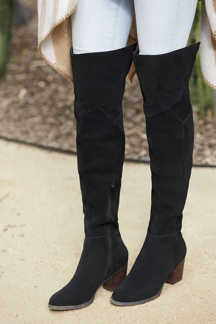 75987901a6e Suede over the knee boot with back slit