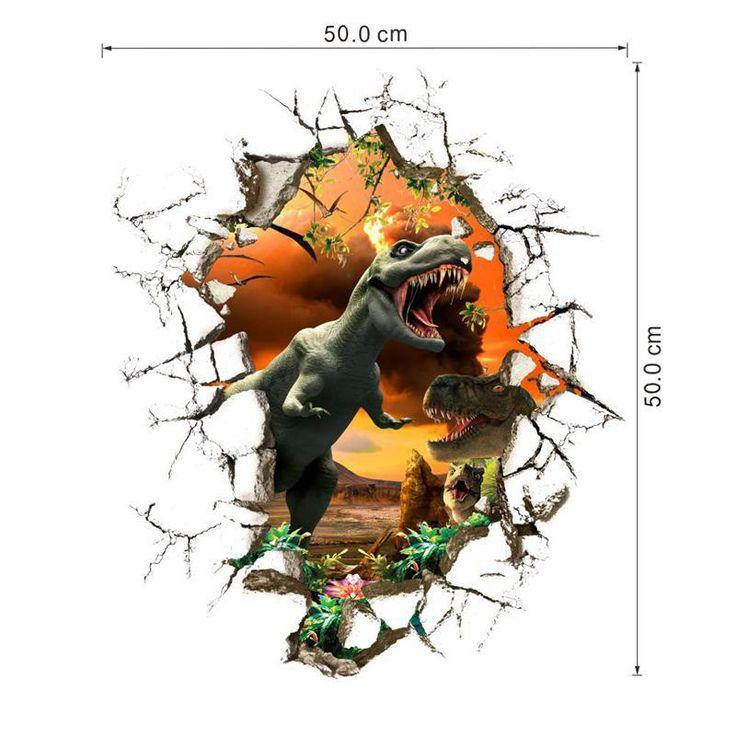 90 * 50 см новые 4 конструкций впечатление 3D мультфильм динозавров главная наклейка стикера стены / мальчики любят детская комната декор по уходу за детьми подарки купить на AliExpress