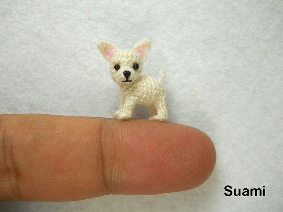 White Chihuahua Dog - Tiny Amigurumi Micro Crochet Miniature Pets - Made to Order