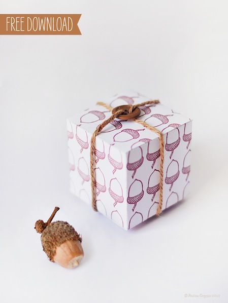 Downloadable Acorn Print Thanksgiving Gift Box #thanksgiving #acorn