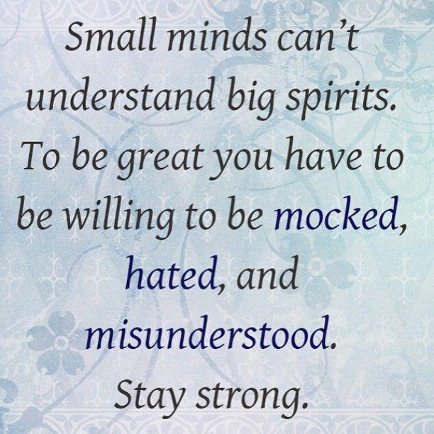 Kleine geesten kunnen grote geesten niet vatten. Om groots te zijn, moet je bereid zijn om te worden bespot en gehaat en om niet begrepen te worden. Blijf sterk.