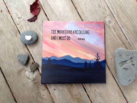 Sunset Mountain Painting with John Muir Quote by RenewedPassions, $75.00