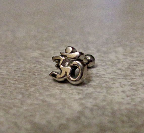 Cartilage ring, Silver Om with surgical steel Barbell 16G, Helix ring, Ear lob, Tragus Ring, 16 Gauge 1.2 mm