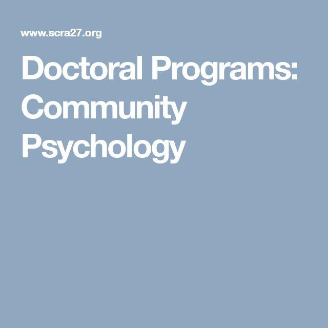 Doctoral Programs: Community Psychology