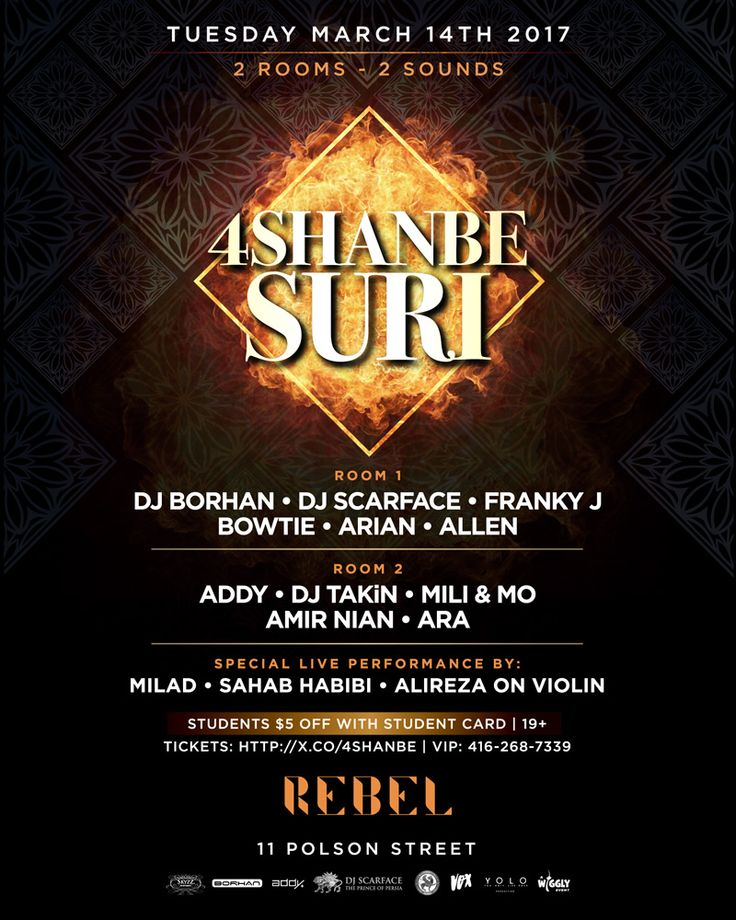 Toronto's official Chaharshanbe Soori Party inside Rebel Nightclub brought to you by joint collaborations.