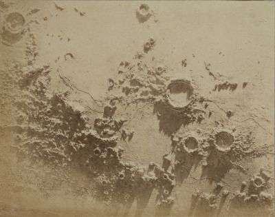 James Nasmyth | one of 15 assorted photographs of Nasmyth's crater models illuminated at a low angle illustrating unknown lunar craters | 1850-1871