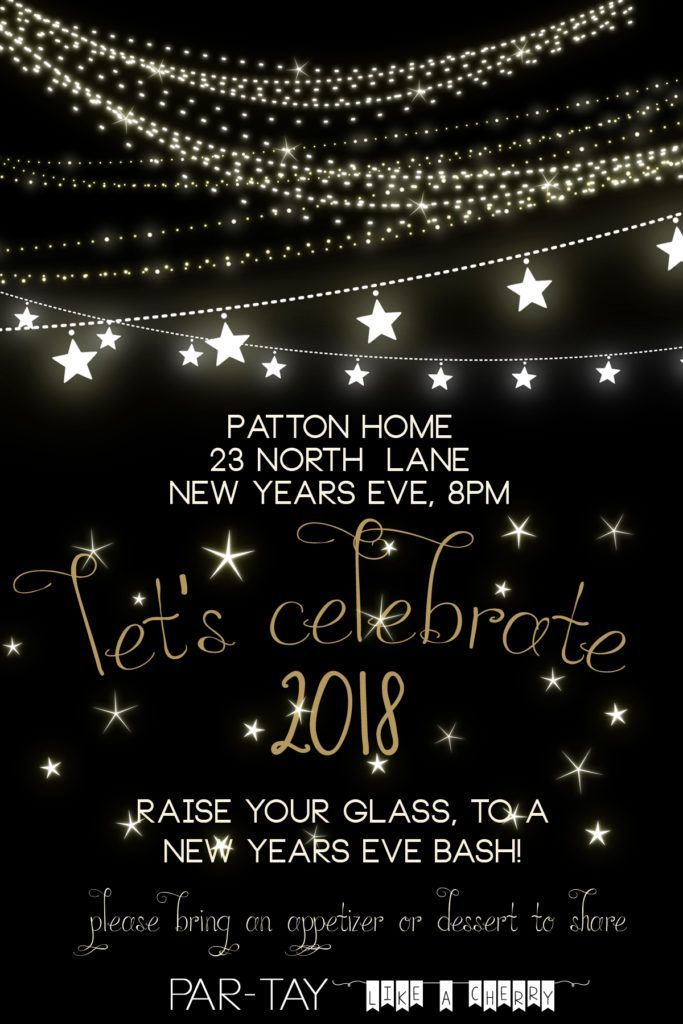 2018 New Years Invitation free template
