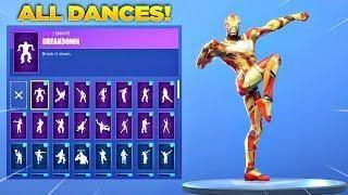 new fortnite iron man skin showcase with all fortnite dances new emotes fortnite custom skin - skin fortnite sauver le monde