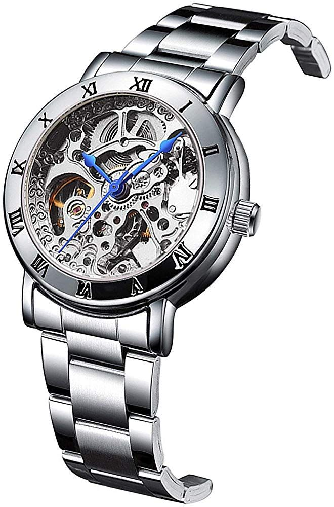 Women Skeleton Dial Silver Stainless Steel Watch Automatic