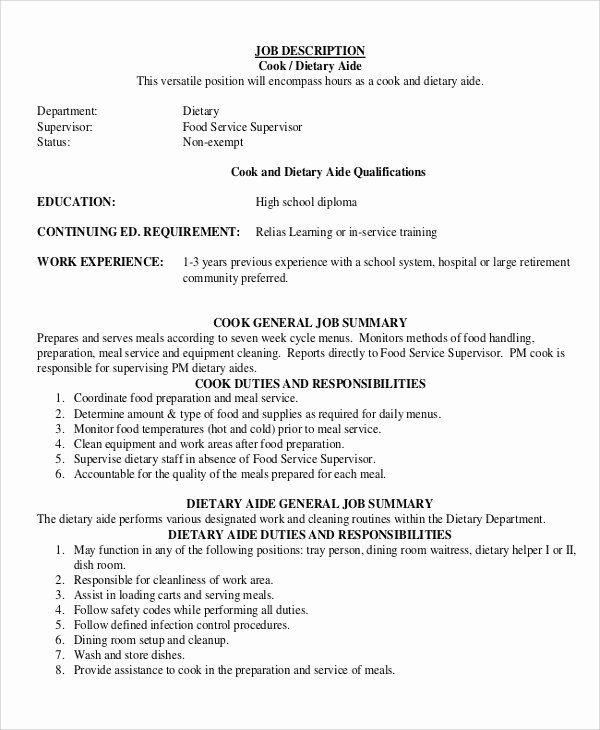 Dietary Aide Job Description Resume Luxury Sample Dietary Aide Job Description 9 Examples In Pdf In 2020 Dietary Aide Job Description Job Description Template