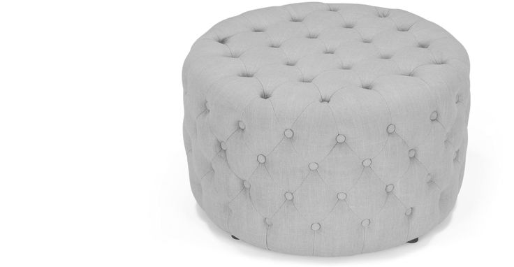 Blakes Small Round Ottoman in persian grey with button detailing is a versatile statement piece which can be used as a footstool, seat or coffee table.