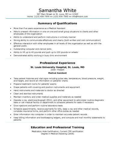 Healthcare Nursing CV examples Pinterest Resume examples - medical assistant resume template free