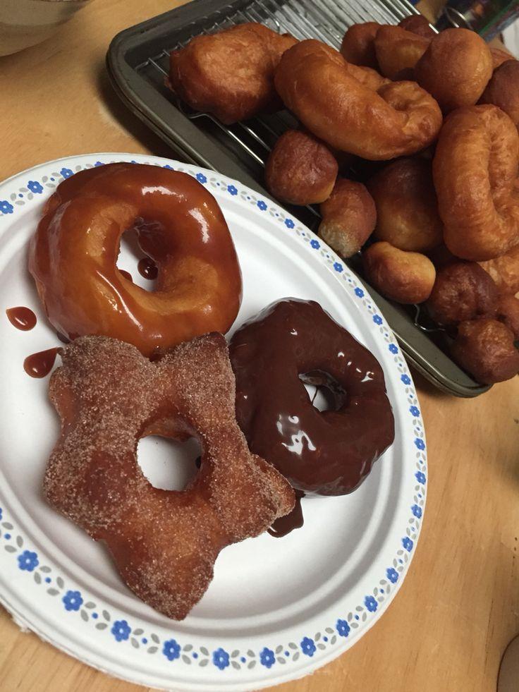 8 year old kids baking class#homemadedoughnuts#chocolatecoated#caramel#cinnamonsugar